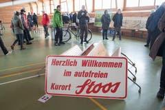 Kult: Das Willkommensschild auf dem Stoos. (Bild: Boris Bürgisser, Stoos, 9. Februar 2019)