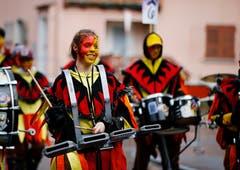 Zufriedene Gesichter bei der Guggenmusik. (Bild: Stefan Kaiser, Rotkreuz, 1. März 2019)