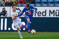 Der FC Luzern war heute entschlossener als der Gast aus der Ostschweiz. Hier ist Pascal Schürpf einen Schritt voraus. (Bild: Martin Meienberger/freshfocus, Luzern, 10. März 2019)