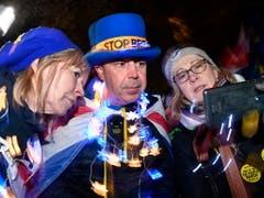Proteste vor dem Parlament in London. (Bild: KEYSTONE/EPA/NEIL HALL)