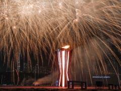 Schlussfeier in Krasnojarsk - ein derartiges Spektakel wird in zwei Jahren auch in Luzern geboten (Bild: KEYSTONE/EPA REUTERS POOL/MAXIM SHEMETOV / POOL)