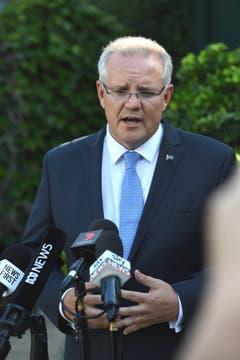 Der australische Premierminister Scott Morrison spricht zu den Medien über den Terroranschlag. (Bild: EPA/PETER RAE)