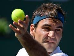 Vor dem Final wurde Roger Federer in Indian Wells nur 1x gebreakt - in der 1. Runde vom Deutschen Peter Gojowczyk (6:1, 7:5). Dominic Thiem nahm «King Roger» aber gleich 3x den Aufschlag ab (Bild: KEYSTONE/AP/MARK J. TERRILL)