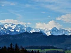 Diese wunderschöne Fernsicht in die Berner Alpen bot sich am letzten Sonntag, um 09.45 Uhr. (Bild Margrith Imhof-Röthlin, Meggen, 17. März 2019)