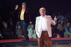 Giacobbo / Müller während ihrem Auftritt an der Premiere zur 100-Jahre-Jubiläumstournee des Circus Knie in Rapperswil (SG), am Donnerstag, 21. März 2019. (Bild: Keystone/Melanie Duchene)
