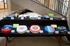 66 WC-Decken sind im Schulhaus Ehret B ausgestellt. (Bild: Maria Schmid, Hünenberg, 26. März 2019)