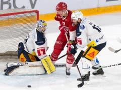 Zugs Goalie Tobias Stephan gerät gegen Lausannes Verteidiger Loïc In-Albon in Bedrängnis. Rechts der Zuger Verteidiger Raphael Diaz (Bild: KEYSTONE/LAURENT GILLIERON)