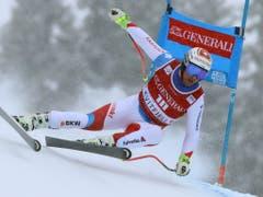 Beat Feuz in Kvitfjell auf der Fahrt zu Platz 3 (Bild: KEYSTONE/AP/ALESSANDRO TROVATI)