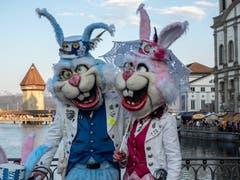 Bunte Osterhasen an der Luzerner Fasnacht. (Bild: Theres Nussbaumer, Luzern, 2. März 2019)