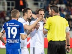 Ein nicht gegebener Treffer in der ersten Halbzeit sorgte für Diskussionsstoff in der Partie zwischen Luzern und Basel (Bild: KEYSTONE/URS FLUEELER)