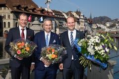 Von links nach rechts: Die gewählten Regierungsräte Reto Wyss (CVP), Guido Graf (CVP) und Fabian Peter (FDP). (Bild: Philipp Schmidli)