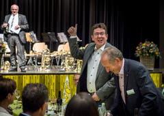 Ehrengast des Abends ist Albert Rösti, Präsident der SVP Schweiz. (Bild: Andrea Stalder)