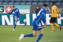 Pascal Schürpf, Linker Flügel, 3,5 Hat mehrere gute Chancen, verzieht aber. Vor dem Penalty provoziert er von Bergens Handspiel. (Bild: Boris Bürgisser, Luzern, 10. April 2019)