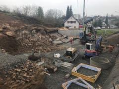 Auf dieser Baustelle wurde die Sprengung durchgeführt.