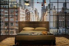 ...die Kulisse von New York an der Wand...