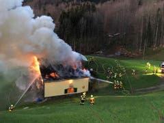 Das Haus stand im Vollbrand, als die Feuerwehr eintraf. (Leserbilder)