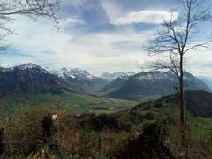Ausblick vom Bürgenberg auf die grüne Landschaft. (Bild: Bruno Ringgenberg, Nähe Bergstation Hammetschwandlift, 21. April 2019)