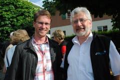 Jubiläums-Generalversammlung von Tourismus Buochs-Ennetbürgen: Reto Wyss (links) mit Sepp Barmettler. (Bild: Rosmarie Berlinger, 28 Mai 2011)