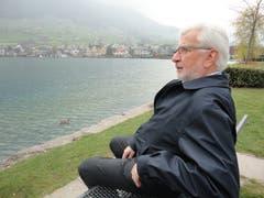 Sepp Barmettler an seinem Lieblingsplatz am Aawasserwegg. (Bild: Ruedi Wechsler, Buochs, 12. April 2019)