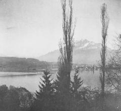 Blick aus dem Carl-Spitteler-Haus in Luzern mit Blick auf Vierwaldstättersee und Pilatus. (Bild: Nachlass Carl Spitteler, Schweizerisches Literaturarchiv, Bern)