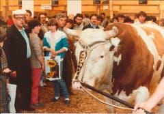 Dieses Prachtsexemplar wurde 1983 - nachdem die IBR-Seuche keine Gefahr mehr war - zur Schau gestellt. (Bild: Messe Luzern)