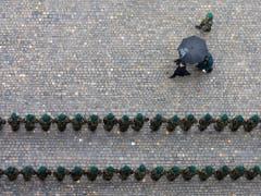 In Reih und Glied: Erbprinz Alois von und zu Liechtenstein schreitet die Ehrengarde auf dem Berner Münsterplatz ab. (Bild: KEYSTONE/PETER KLAUNZER)