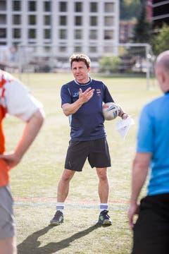Touch-Rugby beim Training auf der Allmend. Im Bild: Spielertrainer John Barton. (Bild: Manuela Jans-Koch, Luzern, 25. April 2019)