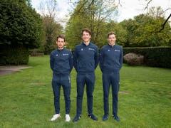 Sébastien Reichenbach, Stefan Küng und Kilian Frankiny (von links) sind an der 73. Tour de Romandie das Schweizer Trio des Teams Groupama-FDJ (Bild: KEYSTONE/ADRIEN PERRITAZ)