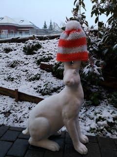 Ein Osterhase im Schnee. (Bild: Silvia Baumann)