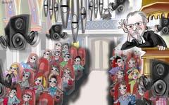 Kirche wie im Kino. Die Laurenzenkirche besitzt vielleicht schon bald eine Orgel, welche die Kirchengänger nicht mehr nur frontal, sondern von allen Seiten beschallt. Eine 3D-Orgel also, die Kino-Feeling verspricht. Und wer weiss: Vielleicht zieht die 2,4-Millionen-Franken-Investition auch junge Zuhörer in die Kirchbank-Reihen der St.Laurenzen. (Illustration: Corinne Bromundt - 6. April 2019)