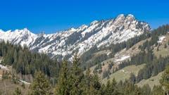 Ausblick vom Ober-Gründli auf Glaubenbergstrasse Richtung der immer noch winterlichen Änggelaueneflue - Äbnistettenflue - Torflue. (Bild: Hubert Zurbuchen, Ober-Gründli, 1. Mai 2019)