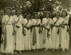 Die Ehrendamen am Kantonalen Schwingfest 1947. (Bild: Schwingklub Rothenburg)