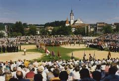 Das Gedenk-Schwinget «600 Jahre Schlacht bei Sempach» – Schwingfest mit eidgenössischem Charakter. (Bild: Schwingklub Rothenburg)