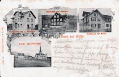 Postkarte aus dem Jahr 1906 aus Grabs, in der Mitte das Gasthaus zur Glocke.