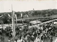 13. Luzerner Kantonales Schwingfest 1932 in Rothenburg – Festplatz bei der heutigen neuen Schulanlage Lindau. (Bild: Schwingklub Rothenburg)
