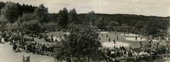Das 28. Luzerner Kantonale Schwingfest 1947 in Rain – Festplatz hinter der heutigen Mehrzweckhalle. (Bild: Schwingklub Rothenburg)