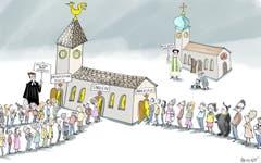 Ohne Predigt.Das Seelsorgeteam der evangelisch-reformierten Kirchgemeinde Straubenzell hat sich ein temporäres Predigtverbot auferlegt. Statt einer Predigt sind im Mai Theater, Gesang und Workshops im Angebot. Die ersten Erfahrungen sind positiv, den Gottesdienstbesuchern gefällt's. Noch halten die Katholiken an der Sonntagspredigt fest. (Illustration: Corinne Bromundt - 10. Mai 2019)