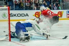 Kevin Fiala erzielt hier das 1:0. (Bild: Andy Müller/freshfocus, Bratislava, 11. Mai 2019)