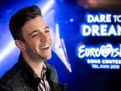 Am Sonntag haben sich die 41 Teilnehmerdelegationen des Eurovision Song Contest in Tel Aviv vorgestellt. Luca Hänni will mit seiner Tanznummer «She Got Me» überzeugen. (Bild: KEYSTONE/ENNIO LEANZA)