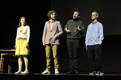 Projekt «Zeitsprung» im Theater Uri: (von links): Ivana Martivovic, Mario Schelbert, Rolf Sommer und Benjamin Kluser. (Bild: Urs Hanhart, Altdorf, 10. Mai 2019)