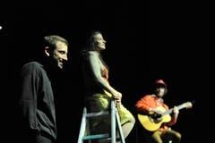 Projekt «Zeitsprung» im Theater Uri mit Rolf Sommer, Ivana Martinovic und Mario Schelbert (von links). (Bild: Urs Hanhart, Altdorf, 10. Mai 2019)