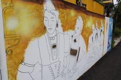 Walter Järmann's Kunst mit Motiven aus dem Landleben nimmt bislang den meisten Platz auf der etwa 200 Meter langen Wand ein. (Bilder: Joëlle Ehrle)