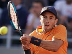 Coric bringt Federer insbesondere mit seiner beidhändigen Rückhand in Bedrängnis (Bild: KEYSTONE/AP/ANDREW MEDICHINI)