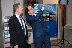 Regierungsrat Marcel Schwerzmann im Gespräch mit Raphael Prinz, SRF-Korrespondent für die Zentralschweiz. (Bild: Eveline Beerkircher)