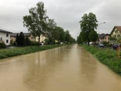 Wassermengen in Widnau. (FM1Today/Marc Hanimann)
