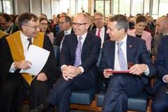 HSG-Rektor Thomas Bieger, Regierungsrat Stefan Kölliker und Bundesrat Ignazio Cassis (v.l.). (Bild: Ralph Ribi)