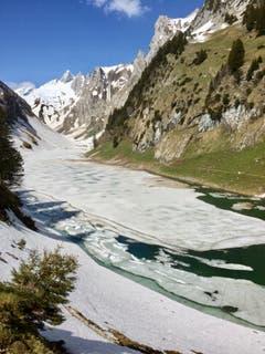 Beim Fälensee macht sich der Frühling bereit, das Eis schmilzt langsam dahin. (Bild: Frieda Bollinger)