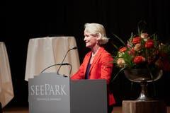 Andrea Gmür bei ihrer Rede an der Delegiertenversammlung in Sempach. (Bild: Jakob Ineichen, Sempach, 28. Mai 2019)