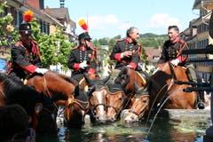 Nach dem ganztägigen Auffahrtsumritt sind alle durstig – sowohl Reiter als auch Ross. (Bild: Florentin Bucher, Beromünster, 30. Mai 2019)