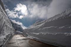 Blick auf einen Teil der Gotthard-Passstrasse. (Bild: KEYSTONE/Pablo Gianinazzi, 30. Mai 2019)